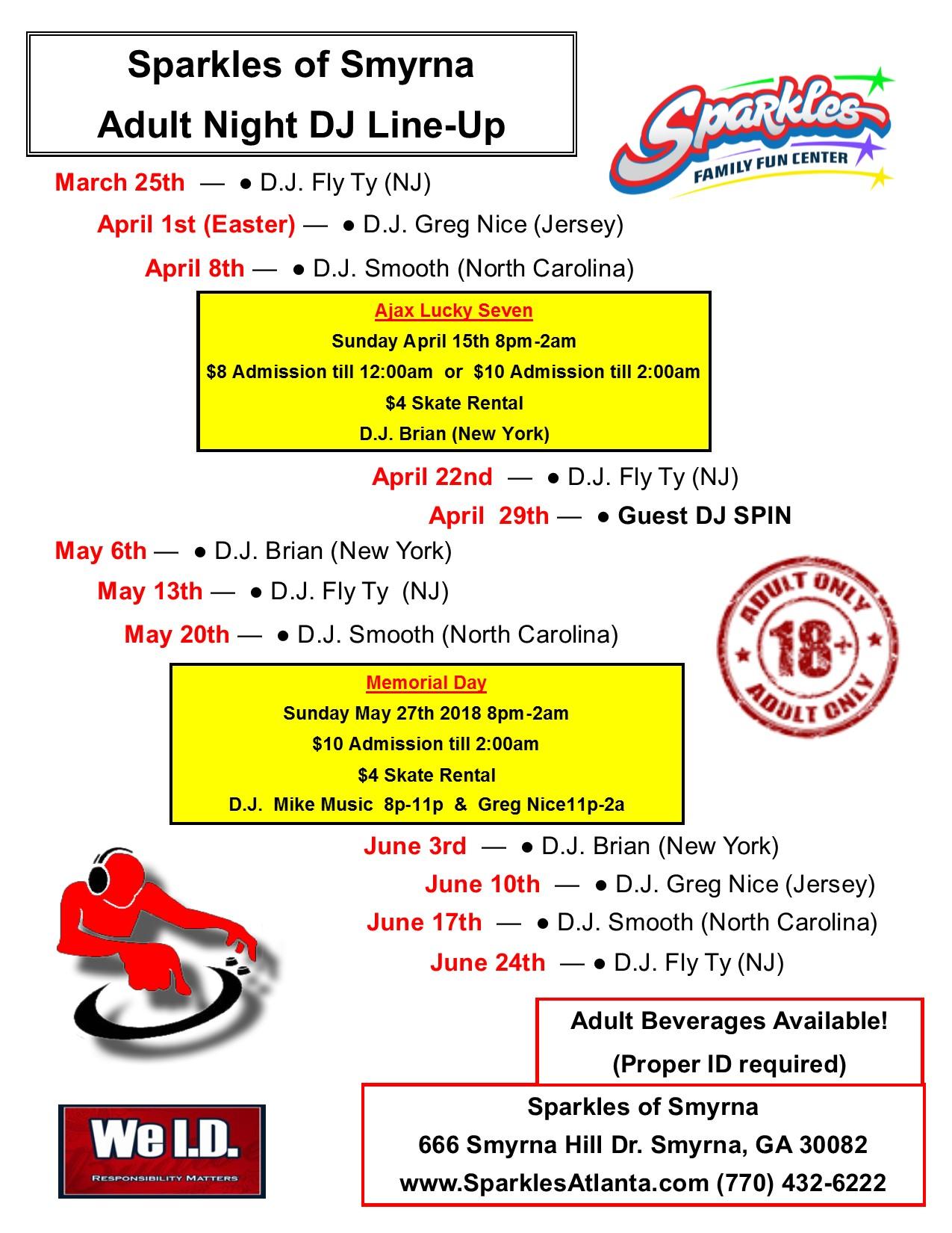 Adult DJ Schedule