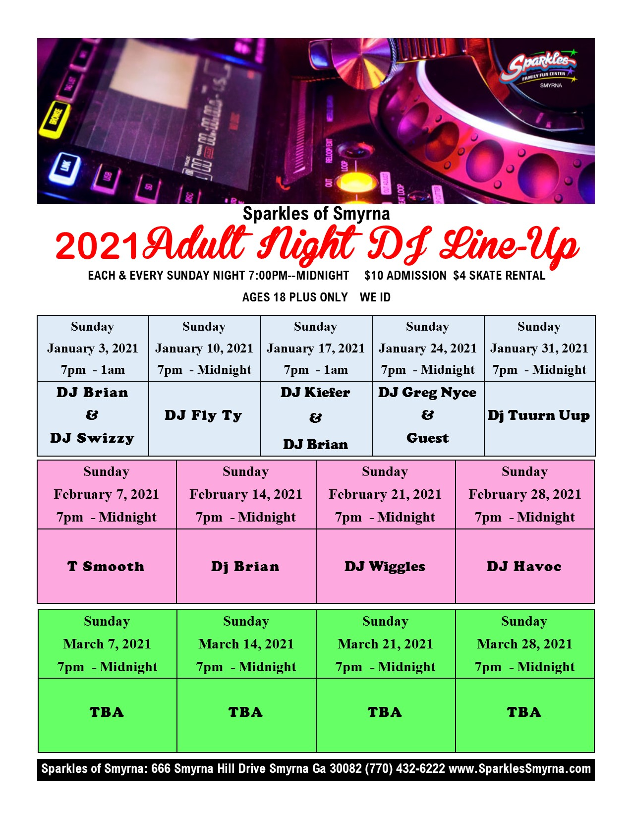 Sunday Night Adult Nigh DJ Schedule
