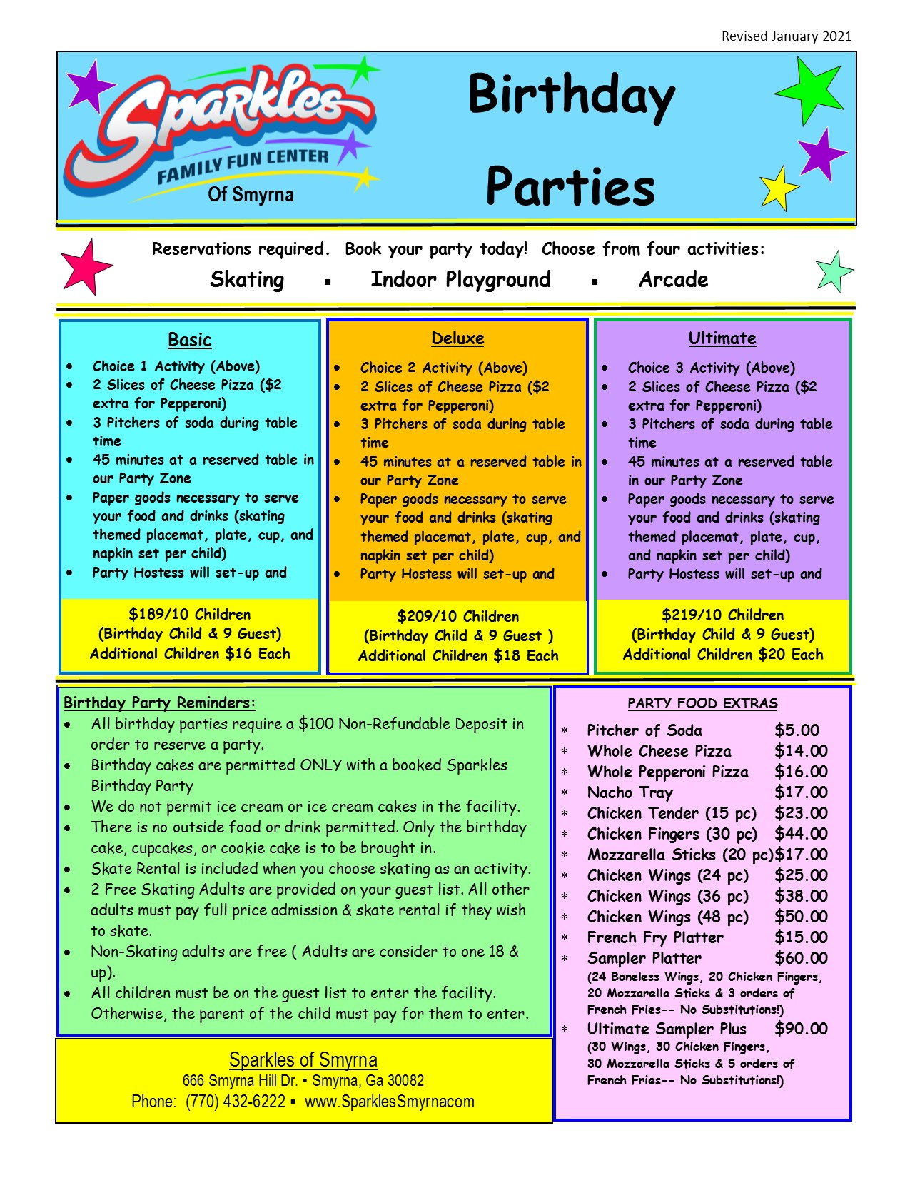 Standard Birthday Party Packages