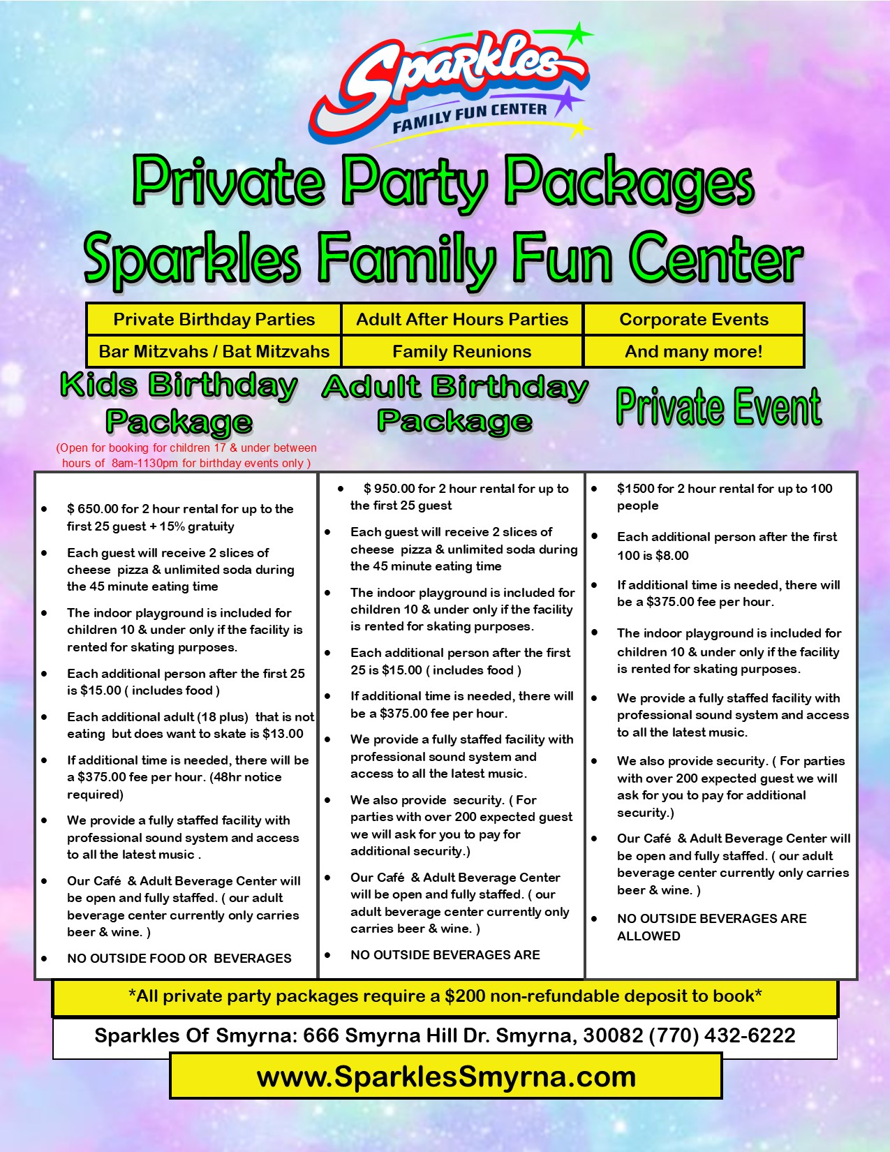 Private Event Packages