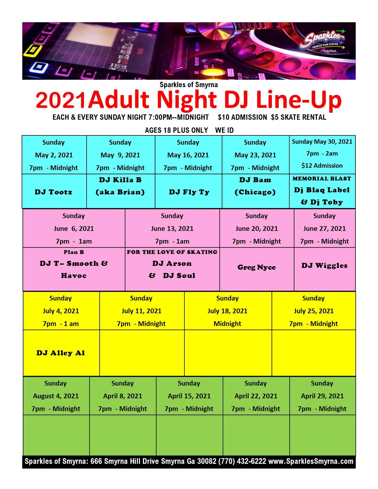 2021 Adult Night Dj Line-Up